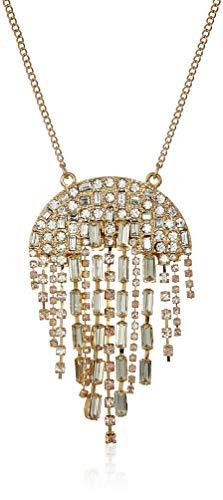 Steve Madden Women's Semi-Circle Rhinestone Chandelier Silver-Tone Pendant Necklace