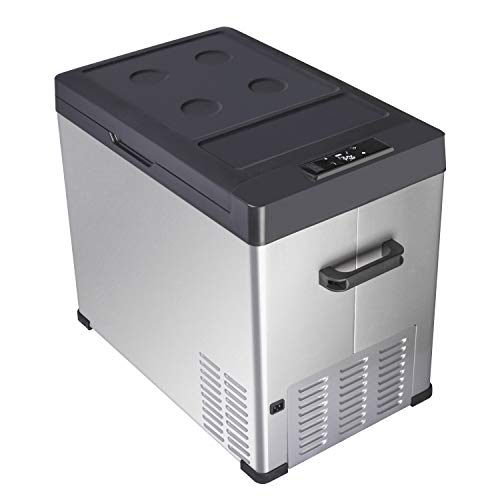 Portable Car Refrigerator Mini Freezer Compact Fridge Electric Cooler with Interior LED Light for Car,Truck,RV,Boat,Outdoor and Indoor Use 12/24V DC, 110-240V AC,Cooling from 68°F to -4°F (40liter)