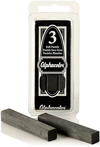 Quartet Alphacolor Soft Pastels, Charcoal, 3 Pastels per Pack (105C)