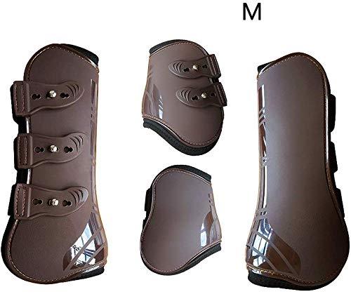 xiegons0 Pferd Bein Stiefel Set 4, Offene Vorderseite Springen Stiefel für Pferde Belüftet Pferd Sport Stiefel für Schutz Pferd Sprunggelenk Bandage - Braun, Medium