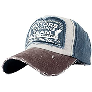Tuopuda Cotton Baseball Cap Snap Back Edge Trucker Motors Racing Motorcycle Biker Hat (Coffee)