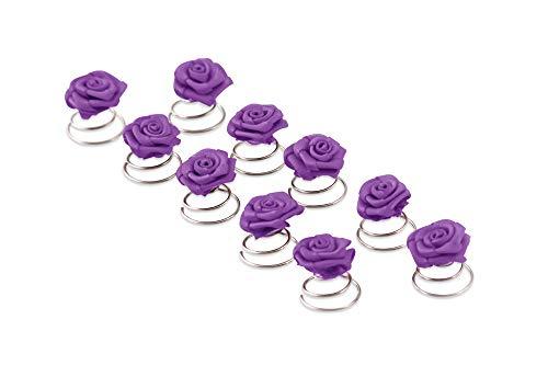 10 x Rosen Curlies - Brauthaarschmuck - Curlie - Haarschmuck | Lila