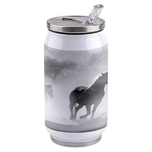 Water Bottle | Vacuum Insulated Stainless Steel Water Bottle 15oz | Running Horses | Double Walled Water Bottles | Wide Mouth with Straw Lid | Leak Proof Flip-Top
