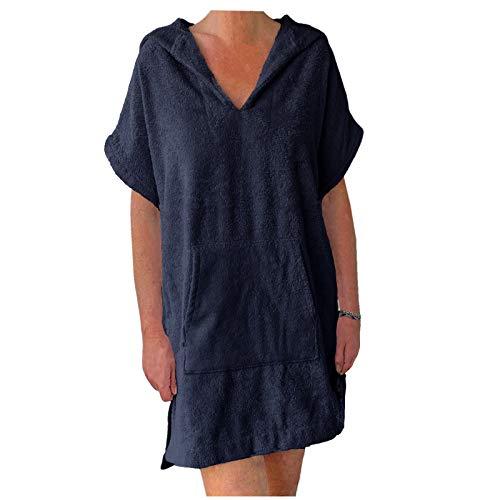 HOMELEVEL Damen Frottee Strandkleid 100% Baumwolle Strandponcho Poncho Badeponcho Handtuch Bademantel mit Kapuze (Dunkelblau, L)
