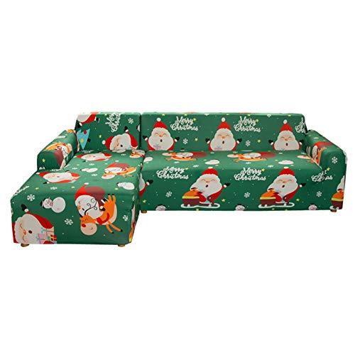Groust Funda de sofá elástica en forma de L, para Navidad, en forma de L, para sofá de 1/2/3/4 plazas