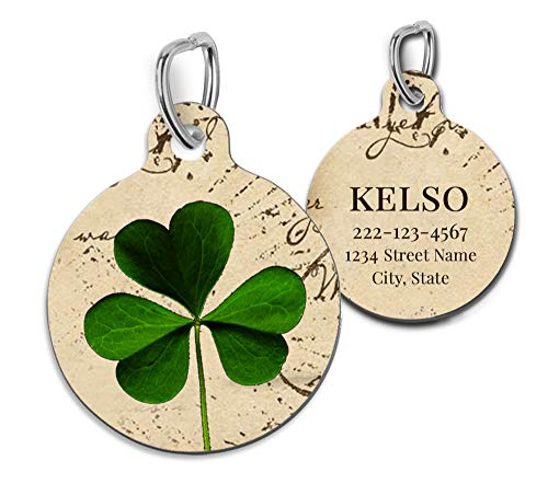 Shamrock Pet Id Tag Personalized Charm for Cats and Dogs St. Patrick's Day
