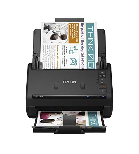 Epson Workforce ES-500W II Wireless Color Duplex Desktop Document Scanner for PC and Mac, with Auto Document Feeder (ADF) and Scan from Smartphone or Tablet