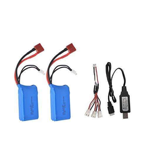 OUYBO 7.4V 2000mah 25C LiPo batería for WLTOYS A959-B A969-B A979-B K929-B Drone batería control remoto de coches helicópteros Accesorios de batería de piezas RC (Color : 2batteryusb)