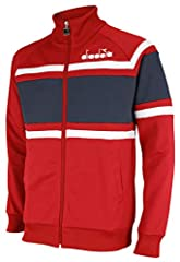 55% polyester, 45% cotton Zipped classic track jacket Elastic, ribbed collar, weistband and cufs Two side pockets Embroidered wordmark on left chest