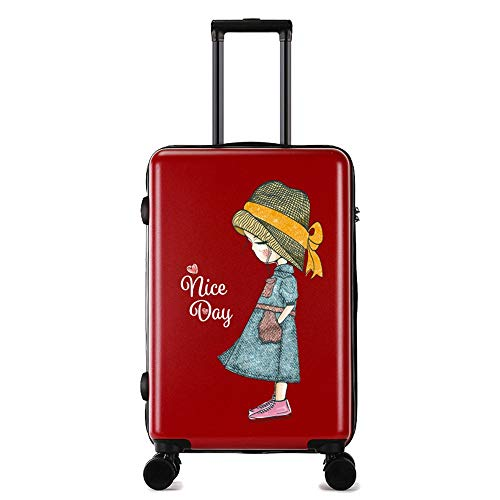 Travel Luggage Case Cartoon Printing Scratch-resistant Trolley Case Female Small Fresh College Student Suitcase 24 Inch Luggage Universal Cabin Luggage (Color : Red, Size : 26 inch)