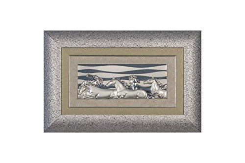 CVC- Quadro da parete, cornice argentata. ' Cavalli in corsa', in bilaminato argento. Dimensione 46x76 cm. Made in Italy