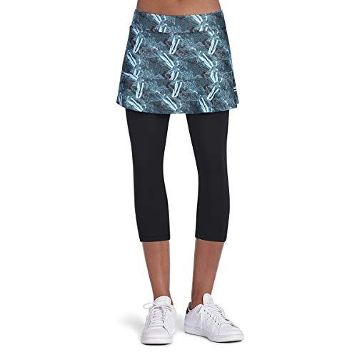 Falda de tenis para mujer, pantalones pirata, mallas con falda, falda deportiva, ropa de tenis 3/4, 2 en 1, azul, M