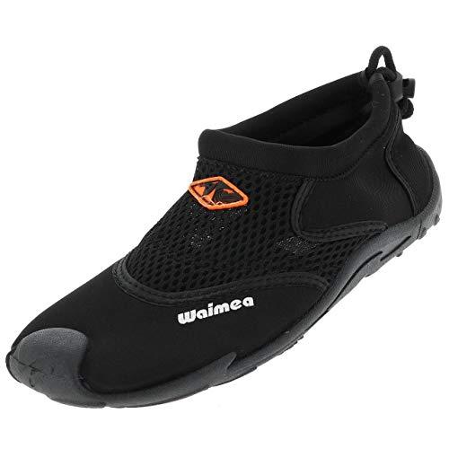 Waimea zapatos de baño aqua zapatos, Negro, 31