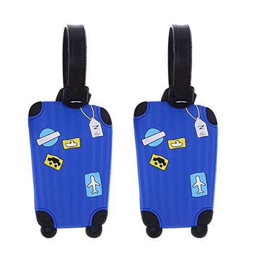 LIOOBO 2pcs Etiquetas de Equipaje de Viaje Etiquetas de identificación de Maleta Etiqueta para identificador de Viaje Maleta Etiqueta (Azul)