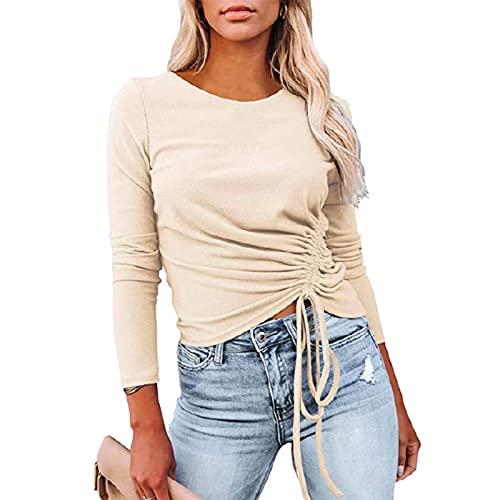 Camiseta de Manga Larga de Color sólido para Mujer, Moda, Cuello Redondo, Tendencia, Personalidad, diseño con cordón, Jersey Informal, Top S