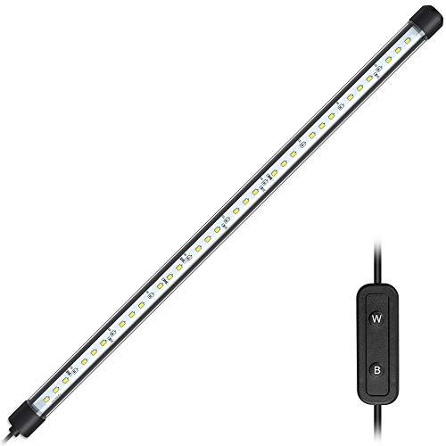 NICREW Luz Sumergible de Blanca y Azul LED para Acuario, Luz Plantado 8W 38cm Subacuática para Tanque con Pez, Lámpara Impermeable para Acuario