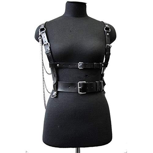 HTABY Las Mujeres Punk Pecho del Arnés De Cuero Ajustable Hebillas De Cinturón PU Correas del Cuerpo del Metal De La Cadena De Clubwear Accesorios del Traje