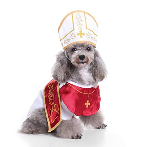 POPETPOP Pope Dog Costume-Holy Pope Hound Dog Pet Costume Halloween Godfather Suit with Hat-Size L