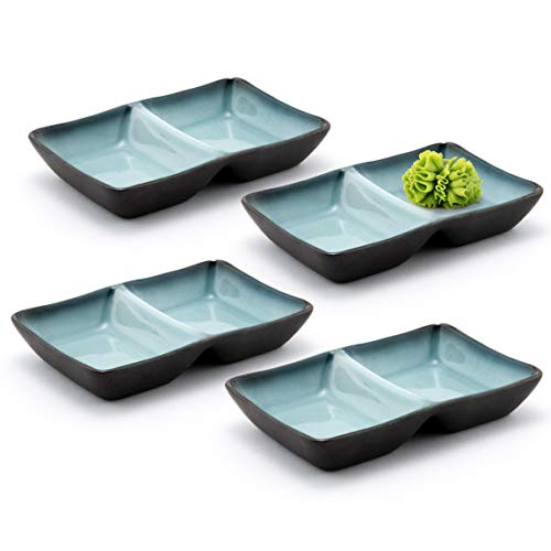 Happy Sales HSSD-DBGB4, Dual Sauce Bowls, Dual Dipping Bowls, Dual Sauce Dishes, Set of 4 pc, Grey...