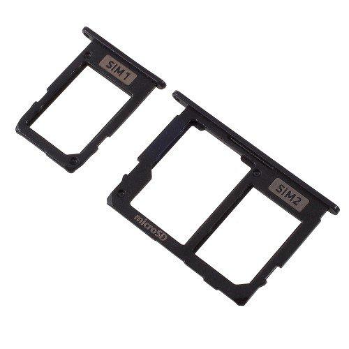 jbTec® SD-Card/Dual SIM-Tray/Halter passend für Samsung Galaxy J5 2017 / J7 2017 - Slot Karte Schlitten Rahmen Holder Handy Card, Farbe:Schwarz