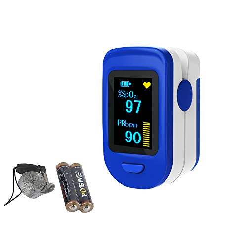 LOOKEE Deluxe Blood Saturation Monitor, OLED Display, Batteries and Lanyard Included
