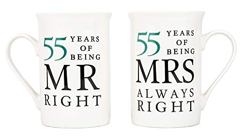 Haysoms Ivory 55th Anniversary Mr Right & Mrs Always Right Ceramic...
