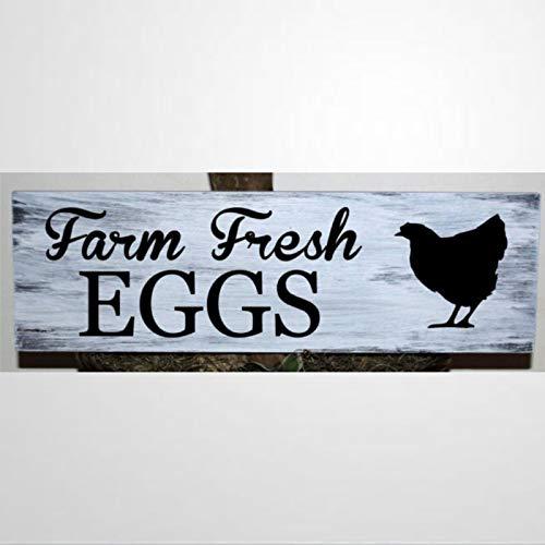BYRON HOYLE Primitive Farm Fresh Eggs - Cartel de madera para decoración de pared, diseño de huevos frescos, para Pascua, día del padre, día de la madre, hogar, jardines