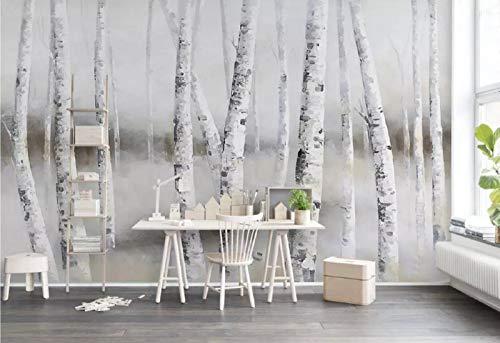 Fototapete 3D Effekt Einfache Und Elegante Weiße Birke Wald Gemälde Stil Einfach Wandbild 3D Tapete Deko Wohnzimmer Tapeten Deko Schlafzimmer Wandbilder Wanddeko