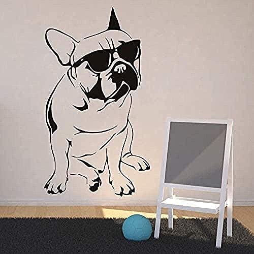 Adhesivo De Pared Artístico Para Decoración De Pared, Animal Bulldog Francés Y Gafas De Sol, Calcomanía Para Sala De Estar, 88X120Cm