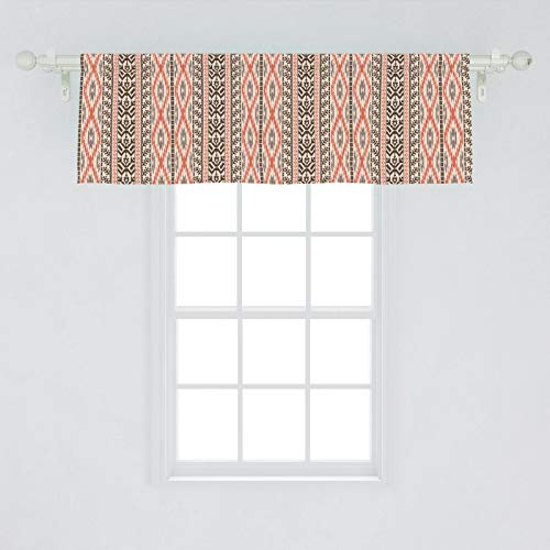 Ambesonne Southwestern Window Valance, Traditional Vertical Borders Inspired by Prehistoric Art Ikat Style, Curtain Valance for Kitchen Bedroom Decor with Rod Pocket, 54' X 18', Multicolor