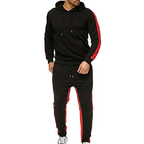LeerKing Trainingsanzug Polyesteranzug für Herren und Jungen Jogginganzug mit kurzem Fleece Pullover Jogginghose und Reißverschlussjacke mit Kapuze Schwaz 2XL