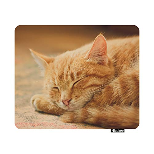Nicokee Gaming Mouse Pad Peaceful Orange Tabby Male Kitten Curled up Sleeping Photo Non-Slip Rubber Mouse Pad for Computers, Laptop, Office, Home Rectangle Personalized Mousepad 9.5 Inch x 7.9 Inch