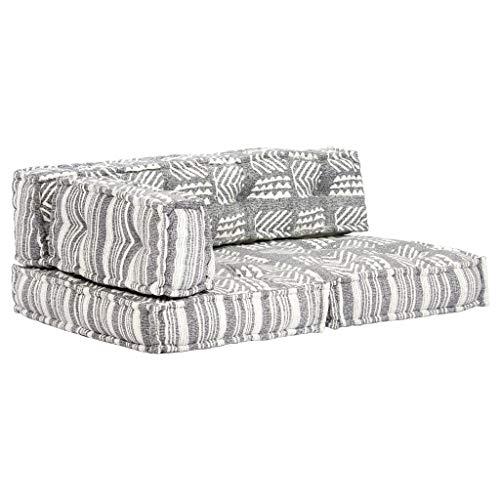 Festnight Palettensofa-Auflage Schlafsofa Patchwork Sofabett Lounge Sofa Ecksofa Couch für Wohnzimmer oder Schlafzimmer Grau Stoff Patchwork
