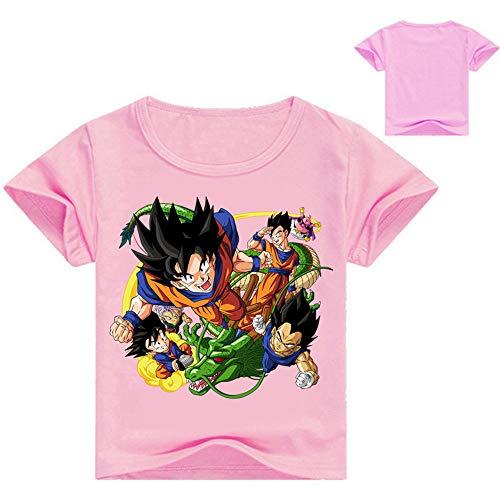Dragon Ball Camiseta Camiseta Airy de Manga Corta Blusas sin Mangas con Cuello Redondo Camisa de Ocio Tops Transpirables niños y niñas (Color : Pink, Size : 110)