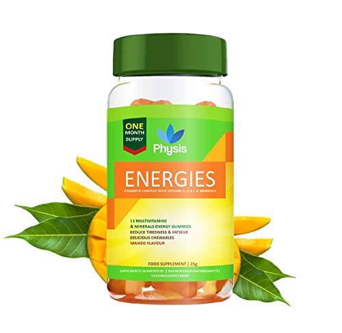 Physis Energy Gummies | 60 Gummies | Mango Flavour | Chewable Vitamin with Vitamins A, C, D, Biotin Zinc & More | Glucose & Multivitamins for Performance Boost | Max Strength, Energy & Health | Vegan