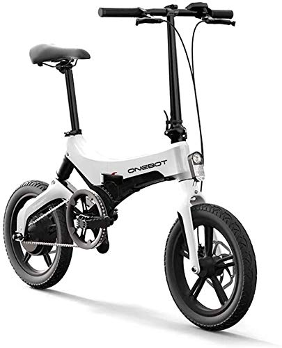 """onebot Bicicleta eléctrica Plegable S-6 (Blanca)  autonomía 40KM, batería 36V 5.2AH Vel. MAX. 25Kmh  Ruedas de 16"""" Pulgadas, suspensión Trasera y Discos de Freno   Panel LCD y luz LED."""