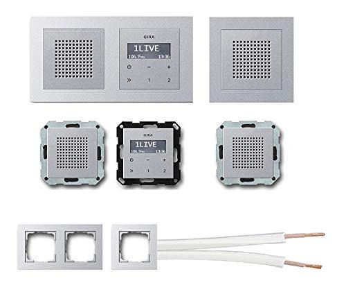 GIRA Unterputz UP RDS Radio 228426 Komplett-Set Aluminium mit 2 x Lautsprecher in 1 und 2 fach Rahmen Alu (E2) + 10 Meter Lautsprecherkabel 2x0,75 mm² weiß 100% OFC