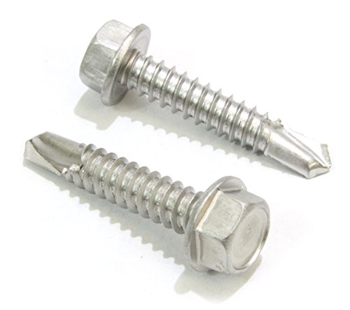 #14 X 1'' Stainless Hex Washer Head Self Drilling Screws, (50 pc) 410 Stainless Steel Self Tapping Choose Size and Qty