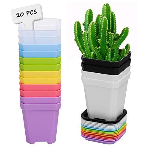 ANSUG 16 Pezzi da 7 cm Vaso da Fiori in Plastica Quadrato con Pallet/Vassoi, Vasi di Fiori in Plastica Spessi Colorati Mini Vasi per Piante Grasse per Balcone Ufficio Giardino
