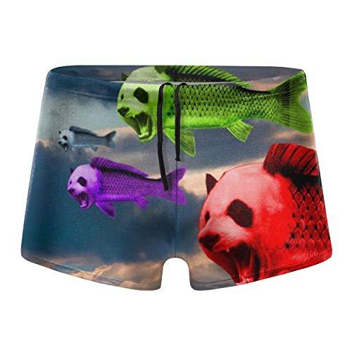 Mens Boxer Swimwear, Panda Head Fish Basic Cozy Brief Swimsuit, Comfortable Printed Beach Surf Swimming Trunks Size M