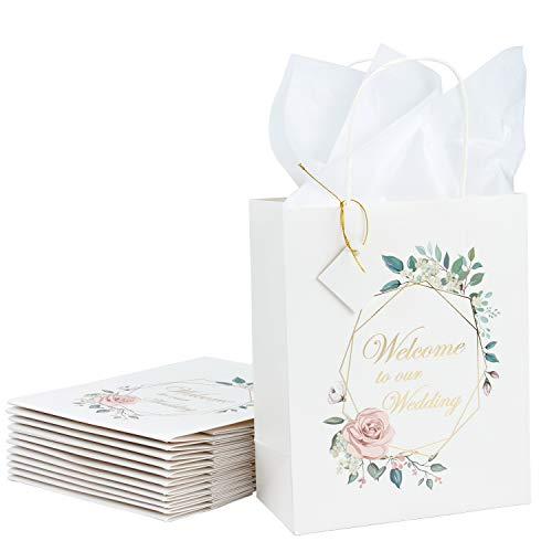 Loveinside Medium Size White Gift Bags - Foil Gold Wedding Text Flowers Design Gift Bags for Shopping, Parties, Wedding, Baby Shower, Craft - 12 Pack - 8 X 4 X 10 Inch