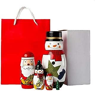 5PCS/Set Wooden Matryoshka Doll, Handmade Santa Wooden Russian Nesting Dolls Gift Matreshka Handmade Crafts for Christmas (Wishing Doll Set)