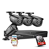 SANNCE 4CH Security Camera System HD-TVI Full 1080N Video DVR Recorder with 4X HD 1920TVL 1080P Indoor Outdoor Weatherproof CCTV Cameras 1TB Hard Drive,Motion Alert, Smartphone, PC Easy Remote Access