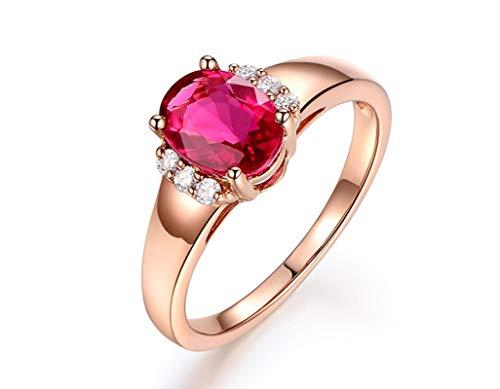 Beydodo Anillos de Mujer Oro Rosa 18K Sangre de Paloma Natural Turmalina Roja Oval 1.30ct Diamante 0.09ct Talla 11