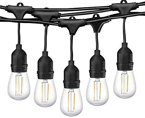 Guirnalda Luces Exterior, Epicflare 48FT IP65 Impermeable Luz de Cadena,15 LED Bombillas de Filamento E27 Guirnalda Luminosa Cadena Luces para Jardín Boda Fiesta de Navidad Decoración