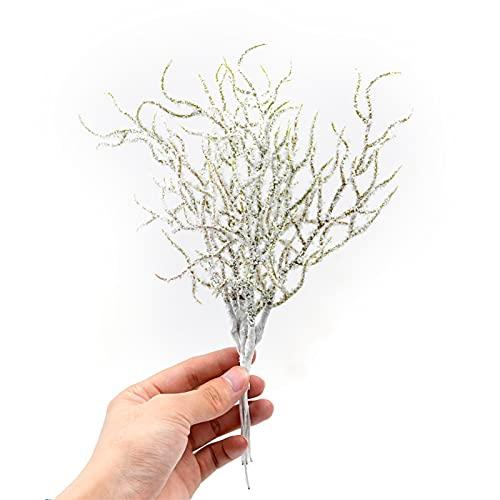 SJHQ Flor Preservada 6 PCS Simulación Planta de Hierba Blanca Flores Artificiales para Bodas Decoración navideña DIY Scrapbooking Accesorios Falsas Plantas Flor Artificial (Color : White)
