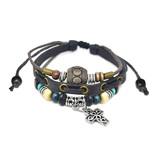 ManoaShark Herren Damen Armband Lederarmband Bettelarmband Charms Echt Leder Kreuz braun