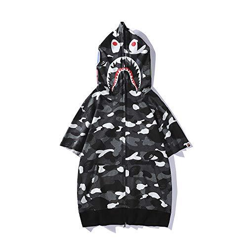 Haikopf WGB Leuchtpunkte Liebhaber Shirt, Kurzarmhemd aus Reiner Baumwolle mit Kapuze und Sonnendruck für Männer und Frauen, lässiges, lockeres T-Shirt. (Schwarz, L)