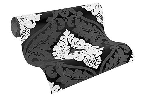 Livingwalls Vliestapete Flock Tapete neo barock 10,05 m x 0,53 m schwarz weiß Made in Germany 554314 5543-14