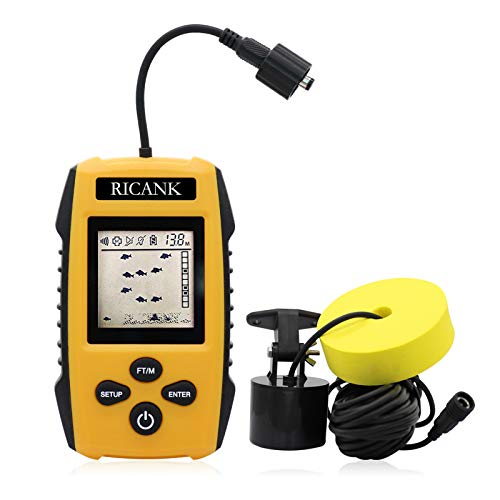 RICANK Portable Fish Finder, Handheld Wired Fish Depth Finder Ice Kayak Fishfinder Shore Boat Fishing Fish Detector Device with Sonar Sensor Transducer and LCD Display Gear Fish Depth Finder Yellow